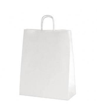 Hvid genbrugspapirpose 32x12x41 cm