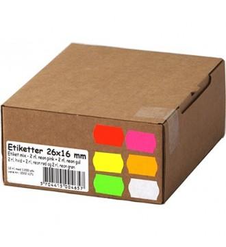 Etiket til 2 linjet mærkepistol - Blandet neon+hvid