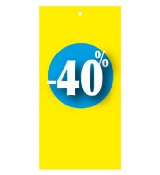 Rabatmærke 40% i etiketform til tekstilpistol