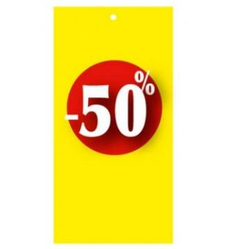 Rabatmærke 50% i etiketform til tekstilpistol