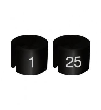 Bøjlemarkering. Mini brikker 1-25. SORT/HVID TEKST