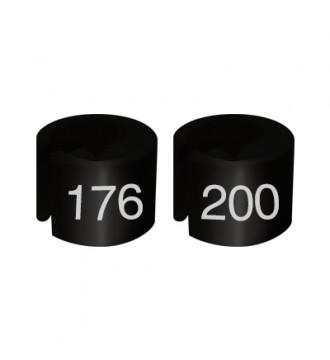 Bøjlemarkering. Mini brikker 176-200.SORT/HVID TEKST