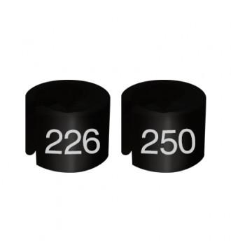 Bøjlemarkering. Mini brikker 226-250. SORT/HVID TEKST