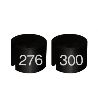 Bøjlemarkering. Mini brikker 276-300. SORT/HVID TEKST