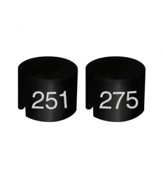 Bøjlemarkering. Mini brikker 251-275. SORT/HVID TEKST