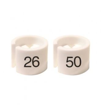 Bøjlemarkering. Mini brikker 26-50. HVID/SORT TEKST