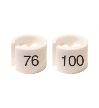 Bøjlemarkering. Mini brikker 76-100. HVID/SORT TEKST