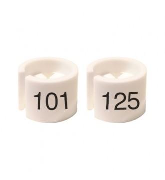 Bøjlemarkering. Mini brikker 101-125. HVID/SORT TEKST