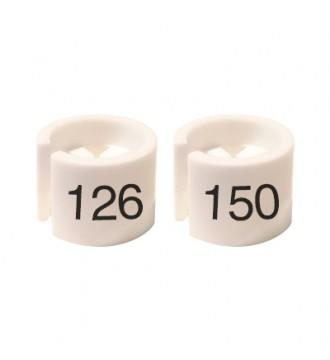 Bøjlemarkering. Mini brikker 126-150. HVID/SORT TEKST