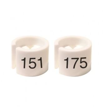 Bøjlemarkering. Mini brikker 151-175. HVID/SORT TEKST