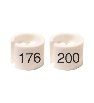 Bøjlemarkering. Mini brikker 176-200. HVID/SORT TEKST