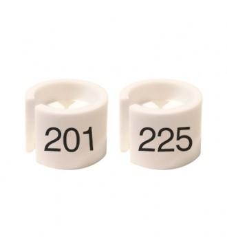 Bøjlemarkering. Mini brikker 201-225. HVID/SORT TEKST