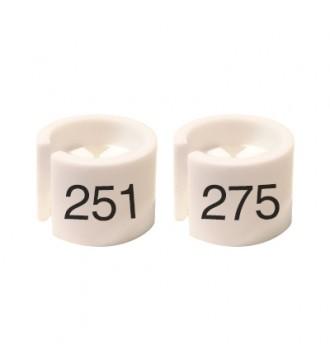 Bøjlemarkering. Mini brikker 251-275. HVID/SORT TEKST