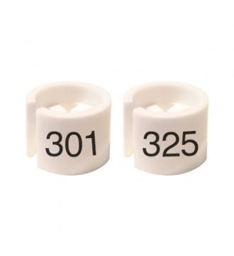 Bøjlemarkering. Mini brikker 301-325. HVID/SORT TEKST