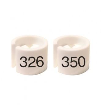 Bøjlemarkering. Mini brikker 326-350. HVID/SORT TEKST