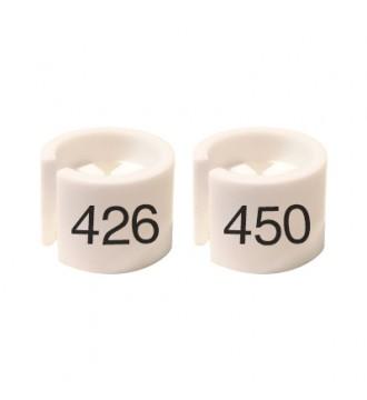 Bøjlemarkering. Mini brikker 426-450. HVID/SORT TEKST