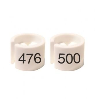 Bøjlemarkering. Mini brikker 476-500. HVID/SORT TEKST
