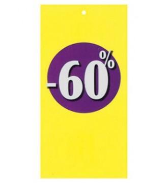Rabatmærke 60% i etiketform til tekstilpistol
