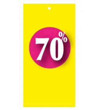 Rabatmærke 70% i etiketform til tekstilpistol