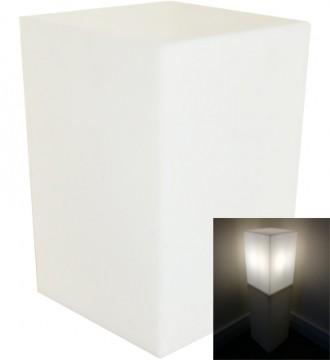 Høj lys podie med pære - hvid