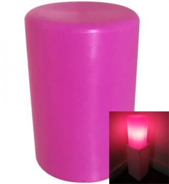Rund høj lys podie med pære - lyserød
