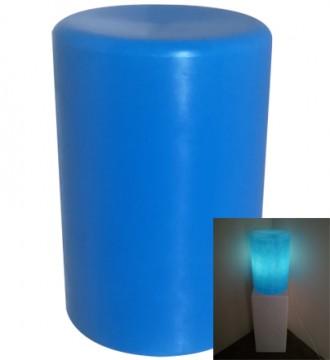 Rund høj lys podie med pære - blå