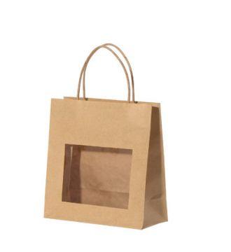 Bærepose, Papir m/vindue 11,5x6,5x14cm, 25 stk. NATUR