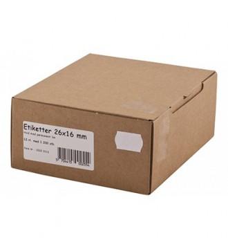 Etiket til 1 linjet mærkepistol - hvid, med permanent lim 26x12mm