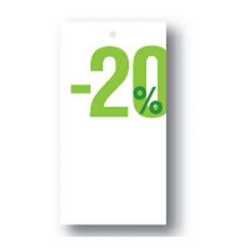 Rabatmærke 20% i etiketform til tekstilpistol