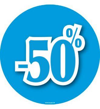 Rabatskilt 50% i vakuumfolie, Ø43 cm