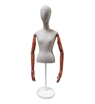 Gine. Dame kort krop/hvidt stof/Trætop/arme rund fodplade. VINTAGE HVID