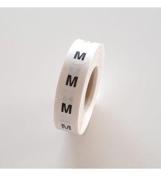 Etikette. Str. M. 1000 stk. pr rulle.