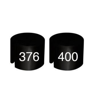 Bøjlemarkering. Mini brikker 376-400-B SORT/HVID TEKST