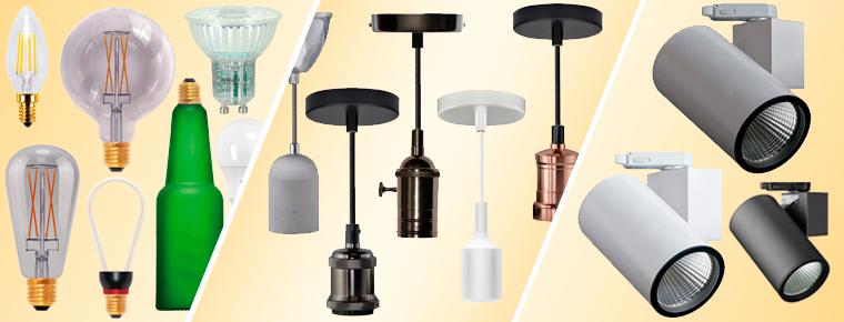 Eksempler på de mange belysningsprodukter vi har på boxel.dk