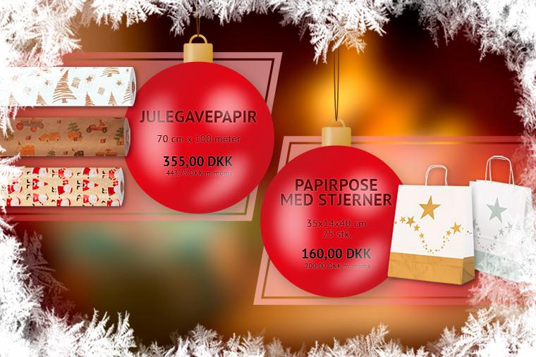 Stort udvalg af juleemballage og pynt til den travle og hyggelige juletid.